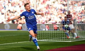 Harvey Barnes celebrates after scoring Leicester's second goal against West Ham.
