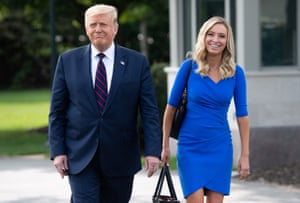 Washington, DC, USDonald Trump walks with Press Secretary Kayleigh McEnany before departing on Marine One for Philadelphia on the South Lawn of the White House.