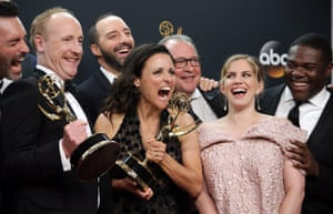 Julia Louis-Dreyfus, winner of the Best Actress in a Comedy Series Award, as well as Outstanding Comedy Series Award for 'Veep', poses with the rest of the cast