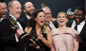 Veep star Julia Louis-Dreyfus with other cast members at the awards.