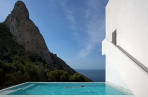 An infinity pool at a clifftop house designed by Fran Silvestre Arquitectos in Alicante, Spain, 2012