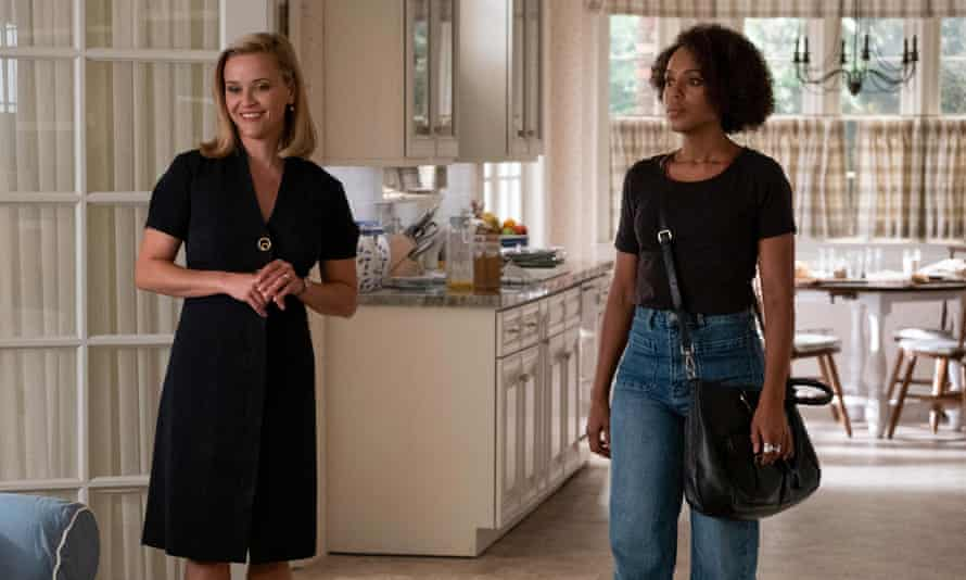 Reese Witherspoon and Kerry Washington – wearing high rise jeans – in 1997-set Little Fires Everywhere.
