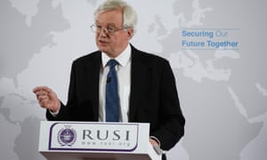 David Davis delivering his speech Britain's security relationship with the EU after Brexit