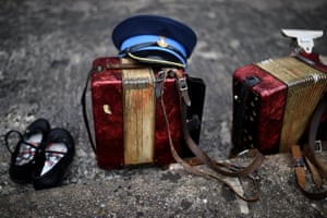 Instruments belonging to the Orange Order marching band are left outside Drumcree parish church in Portadown, Northern Ireland.