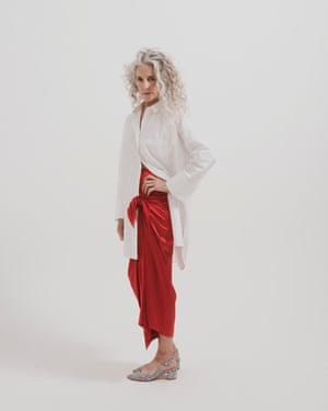 Model wears skirt, from a selection, bernadetteantwerp.com. Shirt, £69, by Kin, from johnlewis.com. Heels, £38, headoverheels.co.uk
