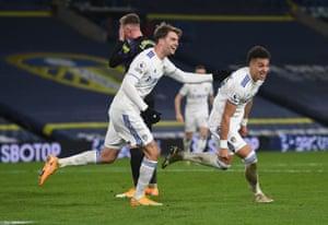 Rodrigo Moreno celebrates as he scores Leeds United's second goal.