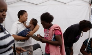 People queue to be tested for HIV at a mobile clinic in Johannesburg.