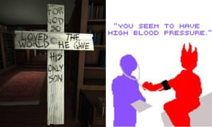 Inspiration: screengrabs from the games Gone Home, left, and Dys4ia