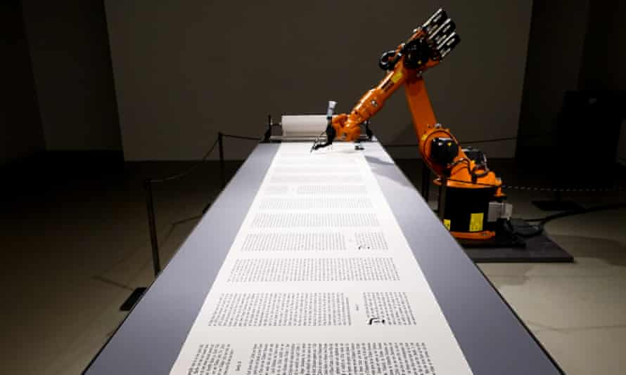 From code to codex … An industrial robot writes out the Bible.