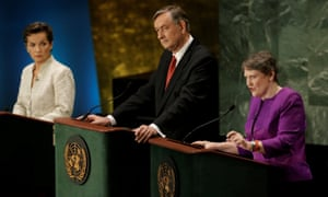 Helen Clark, right, during a debate in the UN general assembly between candidates vying to be the next secretary general. Fellow candidates, the former UN climate chief Christiana Figueres, left, and former Slovenian president, Danilo Turk, watch on.