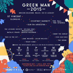 Green Man Festival poster showing female acts