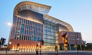 Facade of the Francis Crick Institute in St Pancras, London.