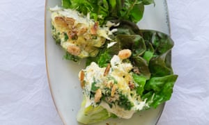 Lettuce, herb mayonnaise and smoked salted almonds