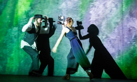 The antithesis between darkness and light is integral to the opera. Collin Shay (Yoel) and Paulina Jurzec (Live camera) in Mamzer-Bastard.