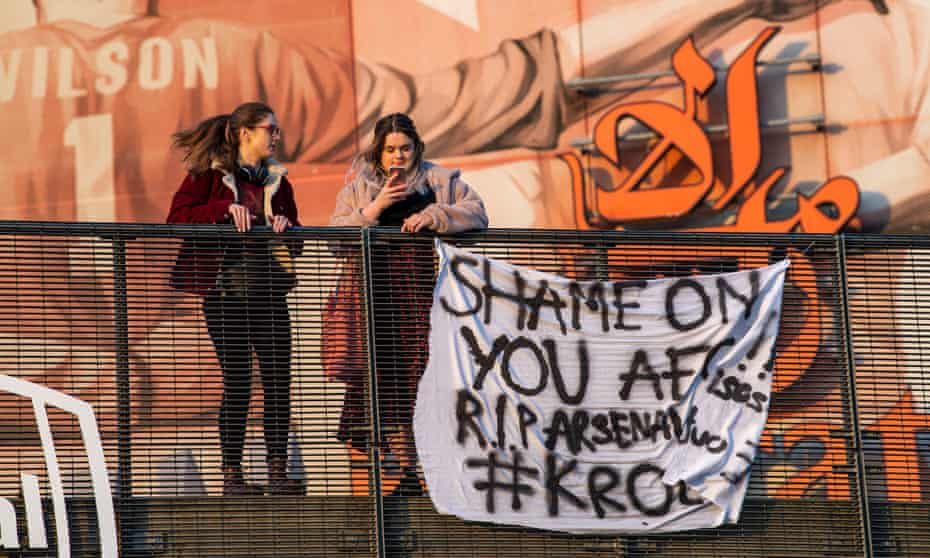 A banner outside Arsenal's Emirates Stadium