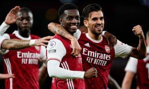 Arsenal's Eddie Nketiah celebrates scoring his side's second goal with Dani Ceballos.