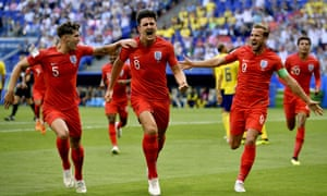 Harry Maguire scores for England.