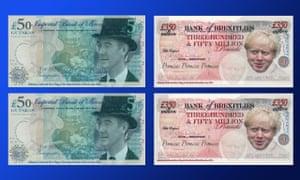 Fake anti-Brexit banknotes.