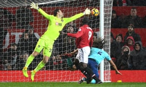 Romelu Lukaku scores the opening goal for Manchester United in their Premier League match against Bournemouth.