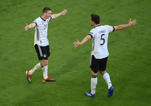 Germany's Robin Gosens celebrates scoring their fourth goal with Mats Hummels.
