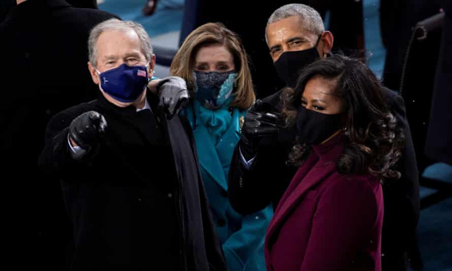 George W Bush, Nancy Pelosi, Barack Obama and Michelle Obama arrive for Joe Biden's inauguration.