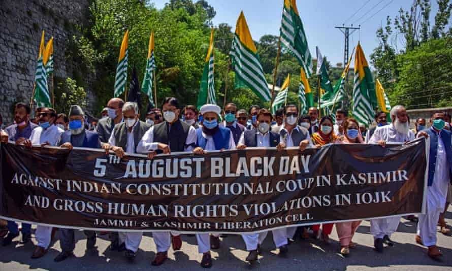 Protesters in Muzaffarabad, capital of Pakistan-administered Kashmir, on Wednesday.