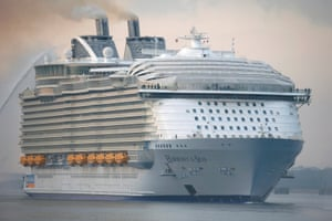 The Harmony of the Seas, arrives in port at Southampton for the first time.