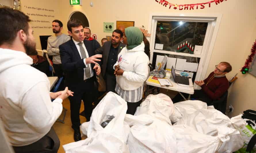 Andy Burnham on a visit to a homeless shelter in Manchester.