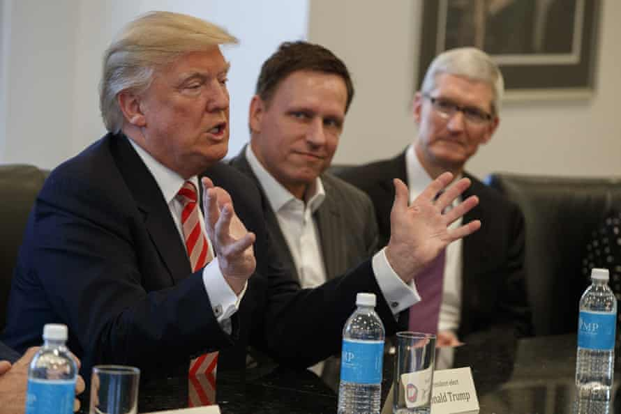 donald trump peter thiel and tim cook at a meeting for tech bosses in trump tower new york