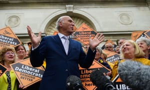 Sir Vince Cable with activists at the Civic Centre, Chelmsford, where the Lib Dems took the council from the Tories.