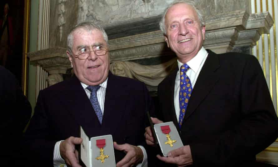 Albert Roux (left) and brother Michel after being awarded honorary OBEs in 2002