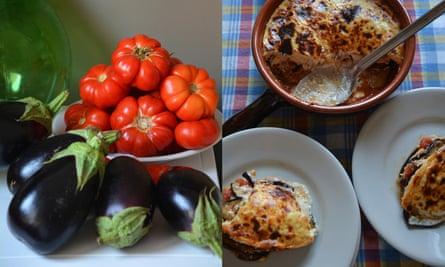aubergine, tomato and ricotta gratin