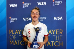 Player of the match Lucy Bronze with her trophy.