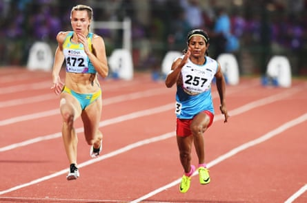 Indian athlete Dutee Chand, right, participates in the women's 100m heat during the Asian Athletics Championships in July 2017