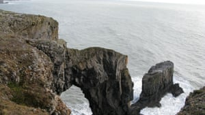 The Green Bridge of Wales – battered by wave and wind.