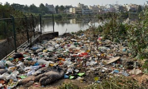 Garbage dumped by a lake in Bangalore.