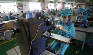 A shoe factory in Wonsan, Kangwon Province, North Korea. The country is staging an '80-day battle', a productivity campaign to boost industries.