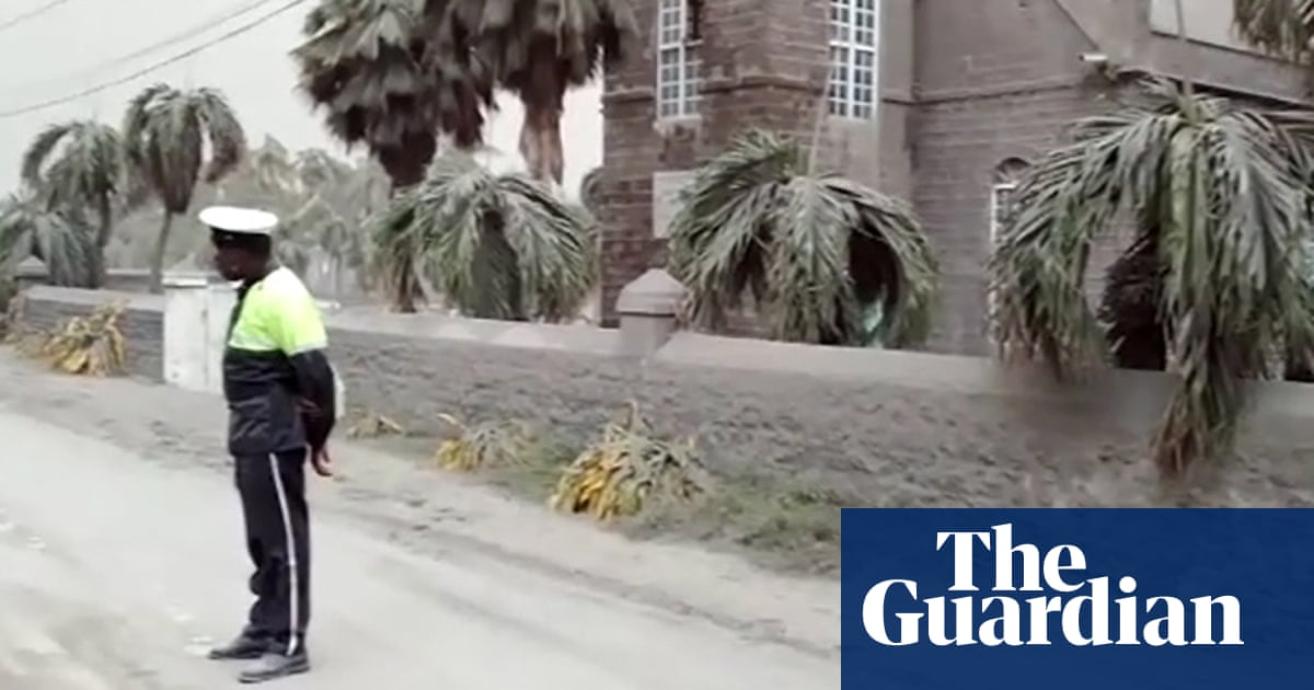 Streets coated with ash after Caribbean volcano eruption – video