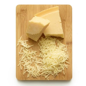 Finely grate both cheeses, then beat all the pecorino and most of the parmesan into the egg mix.