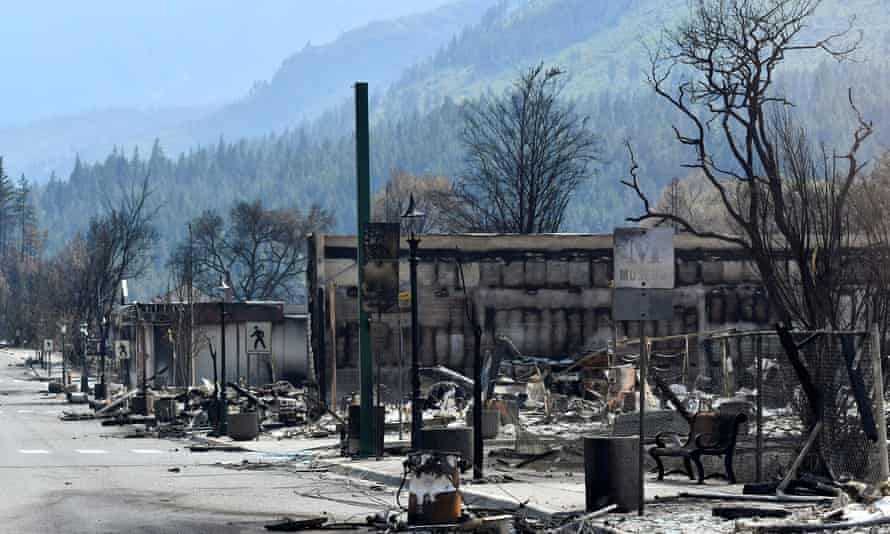 The charred remnants of homes and buildings in Lytton last month. Two people were killed in the Lytton blaze and most of the town destroyed.