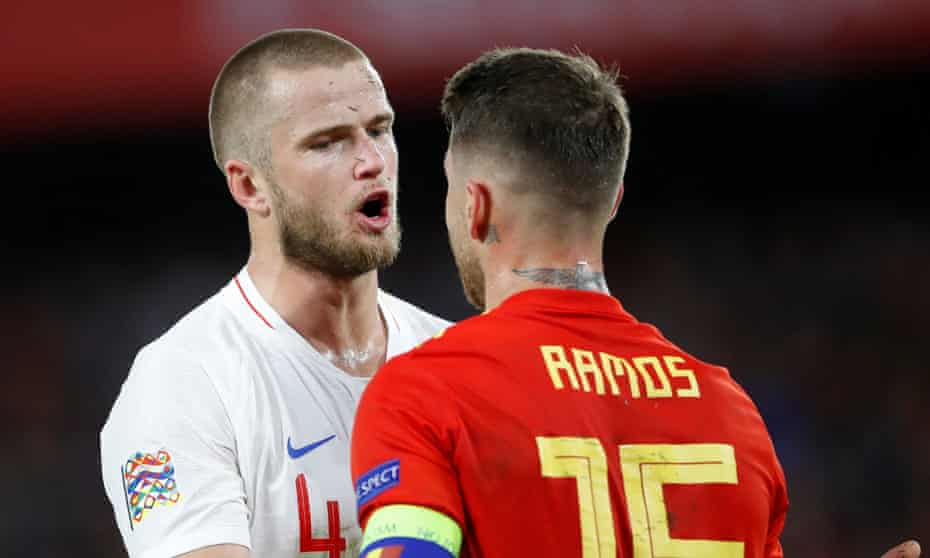England's Eric Dier talks to Spain's captain Sergio Ramos, who was on target in injury time of their 3-2 defeat.