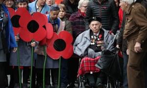 Veterans attend a Remembrance Day service in Edinburgh