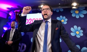 Sweden Democrats party leader Jimmie Akesson speaks to supporters