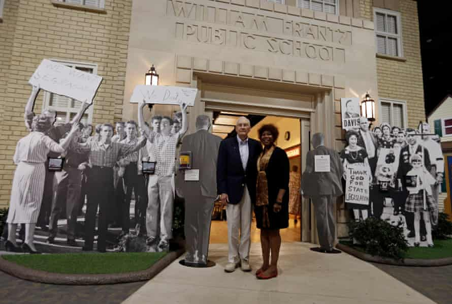 Bridges in 2013 with Charles Burks, one of the marshals who escorted her to school.