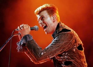 David Bowie performs at the Panathinaikos stadium in Athens in 1996