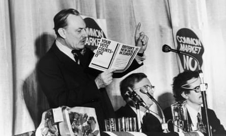 Enoch Powell reading a referendum leaflet in the 70s