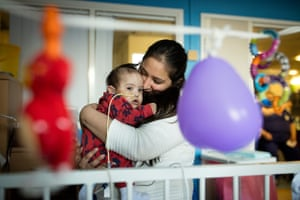 Kawaljit Kaur and her baby Ekam, inside Rose ward