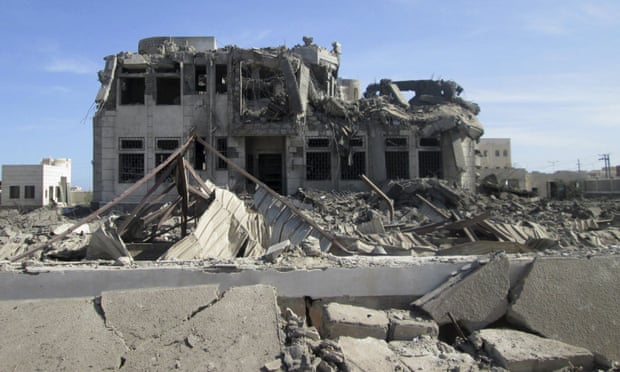 A building damaged by a Saudi airstrike in Yemen