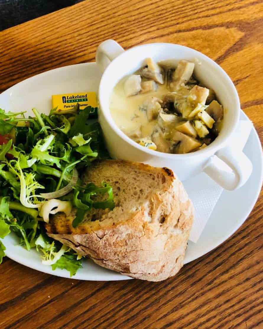 Garlic mushrooms in stilton at The Brown Cow in Chatburn, Lancashire: a feisty little number.