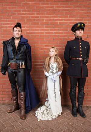 Daniel, left, and Carl Ross with their daughter Lily, aged 9, who was inspired by a dress she saw in a book about Game of Thrones. Daniel, who studied fashion at university, made it for her and wants to make Gothic clothing for children in the future